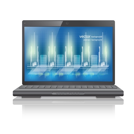 Laptop computer with blue background on monitor Stock Vector - 13468086