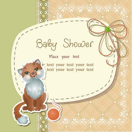 Baby shower with scrapbook elements in retro style Vector