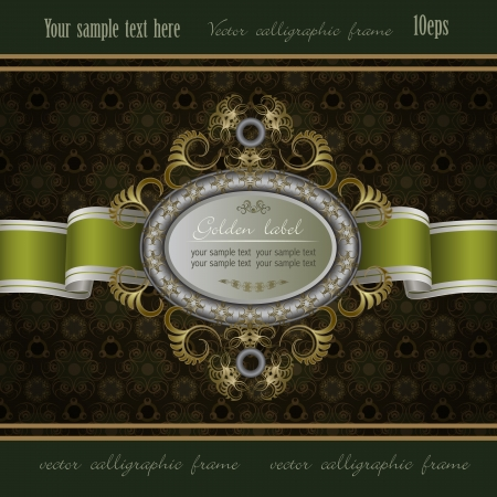victorian christmas: Vintage background with gold frame of abstract plant and green ribbon