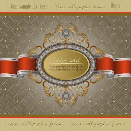 Vintage background with gold frame of abstract plant and red ribbon
