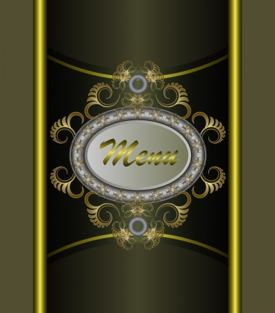 Vintage background with golden patterns. Vector