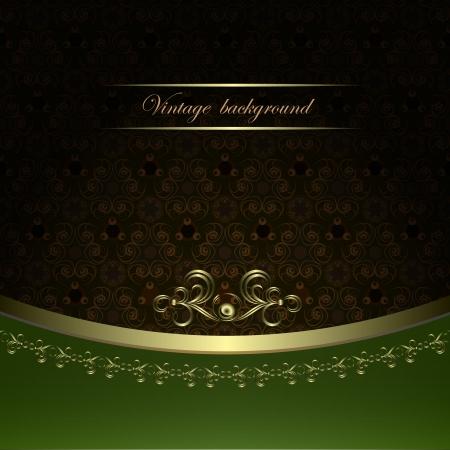 menu card design: Vintage background with golden patterns. Illustration