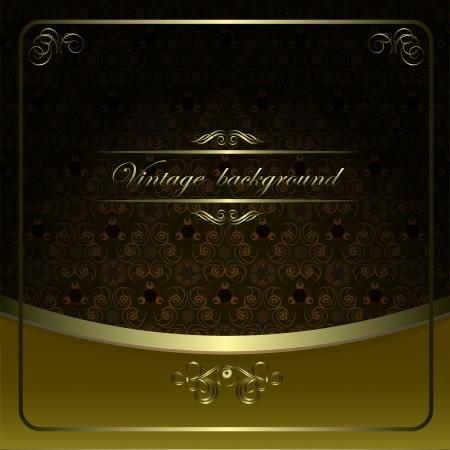 Vintage vector background with golden patterns. Vector