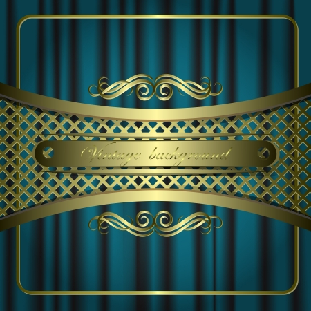 Vintage vector background with golden patterns. Vector