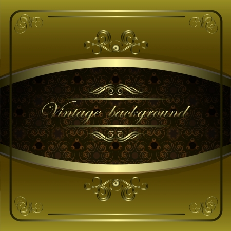 Vintage vector background with golden patterns. Stock Vector - 13719088