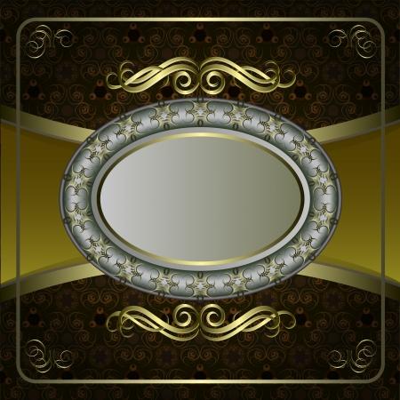 Vintage vector background with golden patterns.