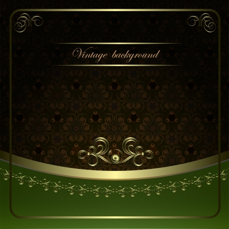 Vintage vector background with golden patterns.