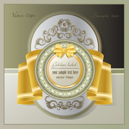 Vintage background with gold label and ribbon Stock Vector - 13913229