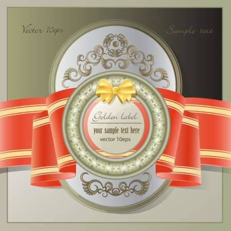 Vintage background with gold label and red ribbon Vector