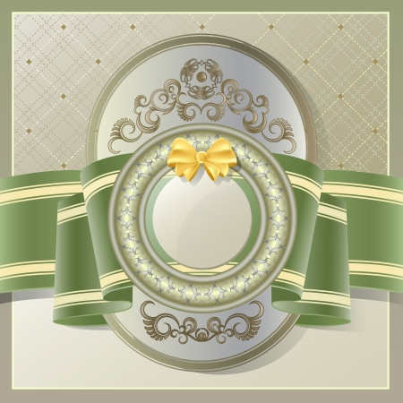Vintage background with gold label and green ribbon Vector