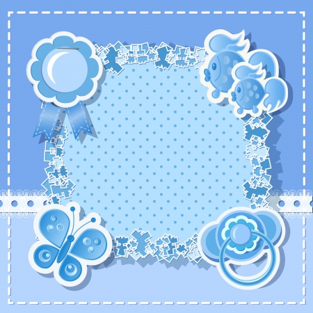 Blue background for boy  with  scrapbook elements Vector