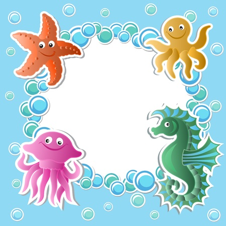 sea green: Baby background with funny sea animals