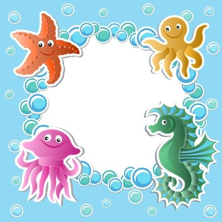 caballo de mar: Fondo del bebé con animales divertidos mar