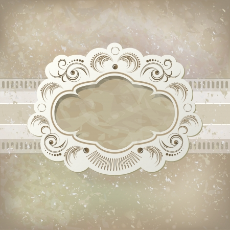 crease: Vintage vector background and frame Illustration