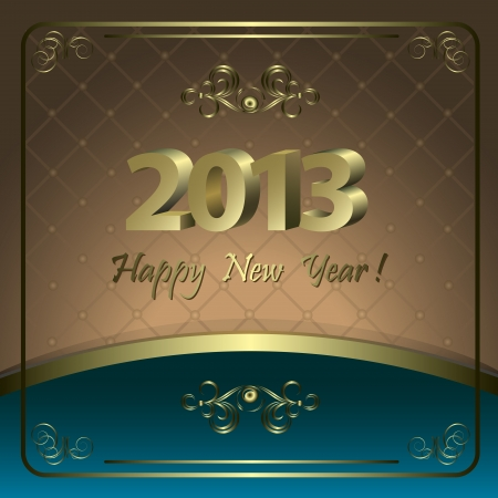 Beautiful New Year card with  golden patterns  Vector