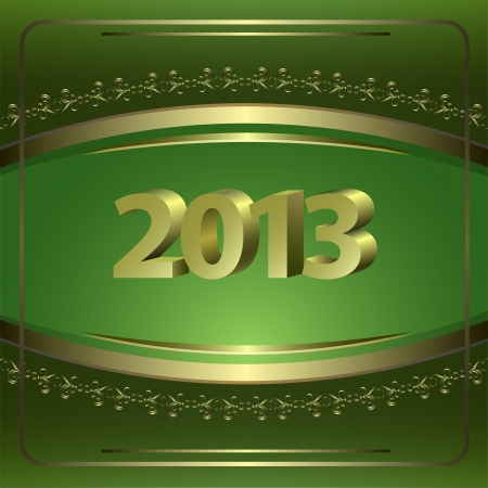 New Year Card with golden elements  Vector
