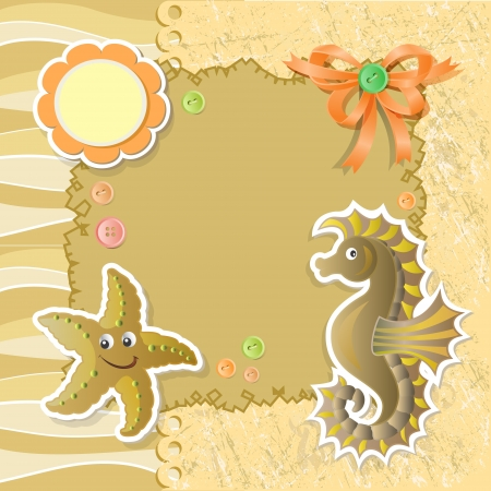 Summer background with funny sea animals Illustration