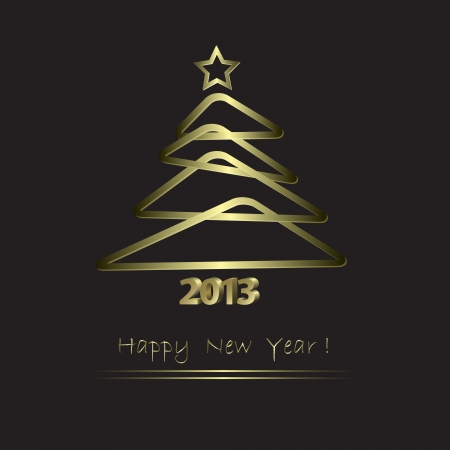 New Year Card with golden tree in abstract style Vector