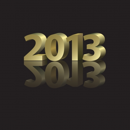 2013 New Year Card with golden elements in abstract style Vector