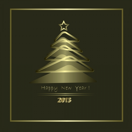 New Year Card with golden elements in abstract style Stock Vector - 14620445
