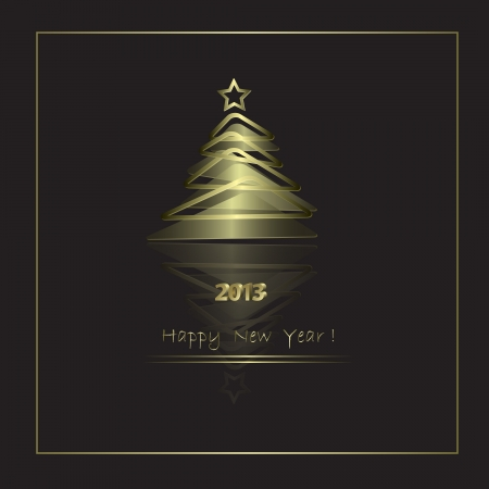 New Year Card with golden elements in abstract style Stock Vector - 14620448