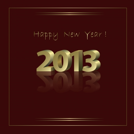New Year Card with golden elements in abstract style Vector