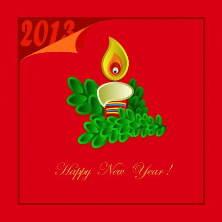 New Year card with candle on the red background Vector