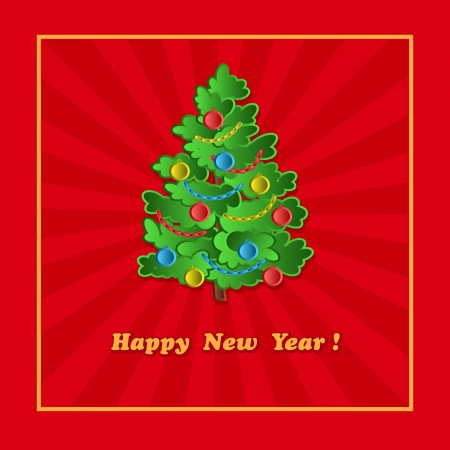 New Year card with christmas tree  on the red background Vector