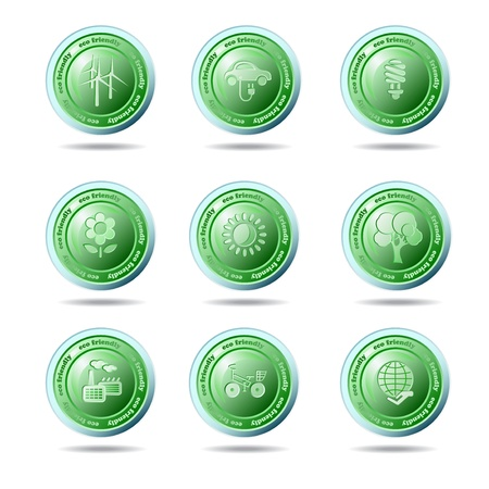 Set of ecology icons on the white background Vector