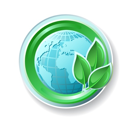 Ecology icon with earth end leaves