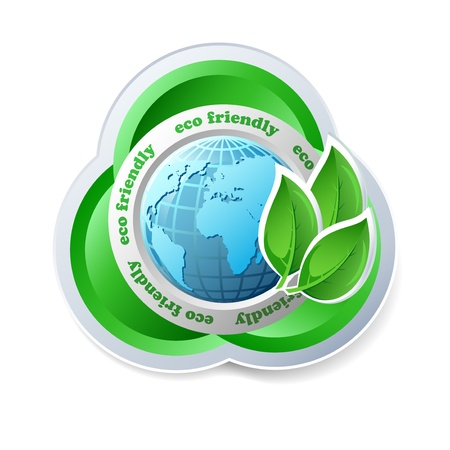 social responsibility: Ecology concept icon with globe Illustration