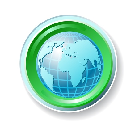 Ecology icon with globe Stock Vector - 15084979