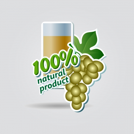 grape juice: Grapes and glass of juice, vector image