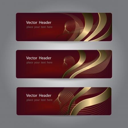 burgundy ribbon: Set di disegno dell'intestazione astratto, banner Vettoriali