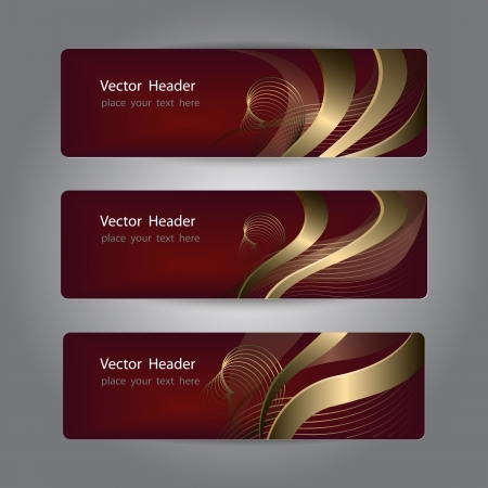 burgundy ribbon: Set of abstract header design, banners