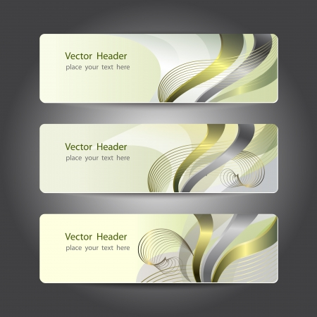 header label: Set of abstract header design, banners