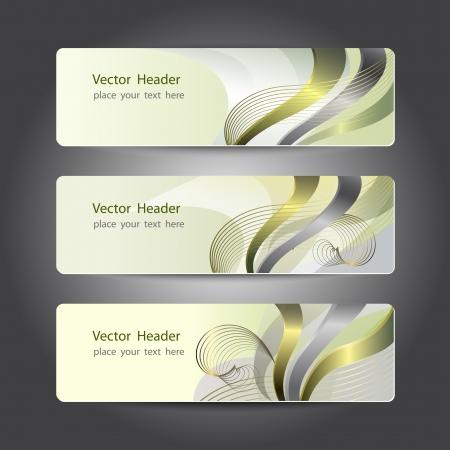 platina: Set van abstracte header design, banners Stock Illustratie