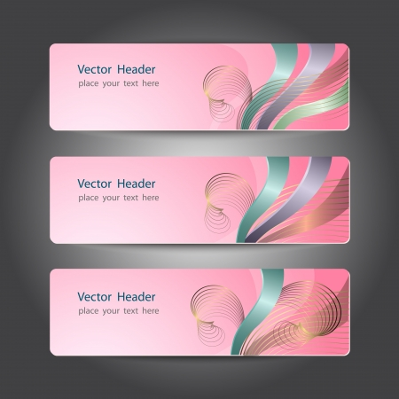 Set of abstract header design, banners Vector