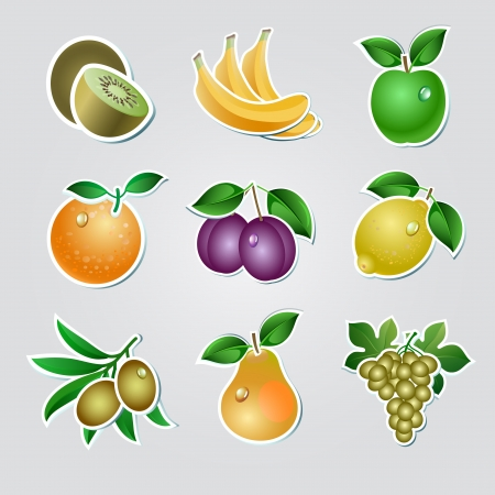 Set of fruit stickers Vector