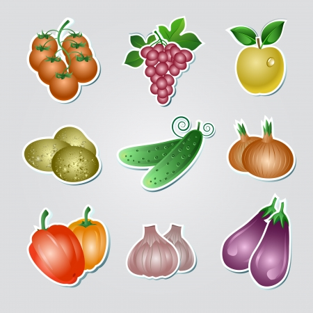 Set of vegetables stickers Stock Vector - 15936640