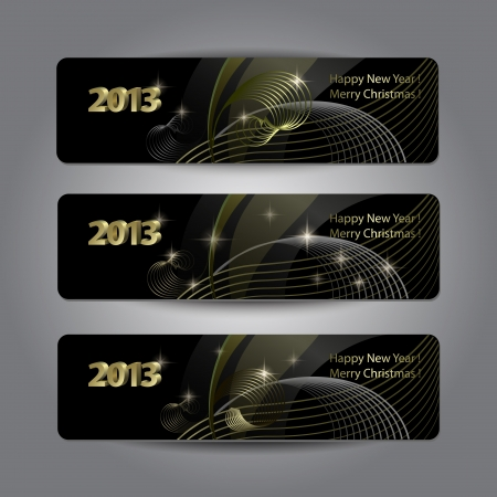 Set of abstract New Year headers, banners. Golden pattern on the black background.  Çizim