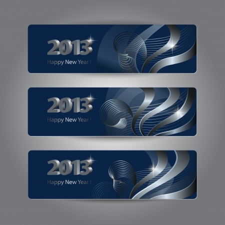Set of abstract New Year headers, banners. Platinum patterns  on the dark blue background.  Vector