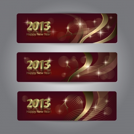 Set of abstract New Year headers, banners. Vector