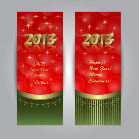 Two vertical New Year banners, cards in red-green colors with golden pattern Vector