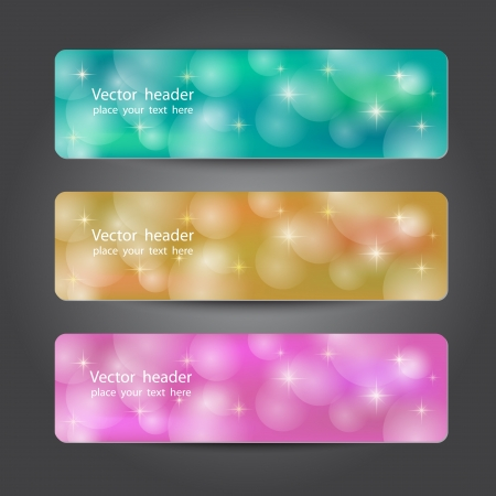 heading the ball: Set of abstract colorful headers