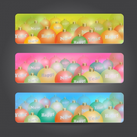 bolls: Set of New Year colorful headers with bolls Illustration