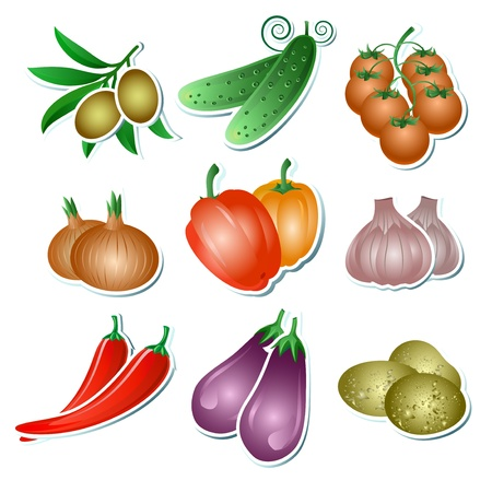 Set of illustration vegetables stickers on the white background Vector