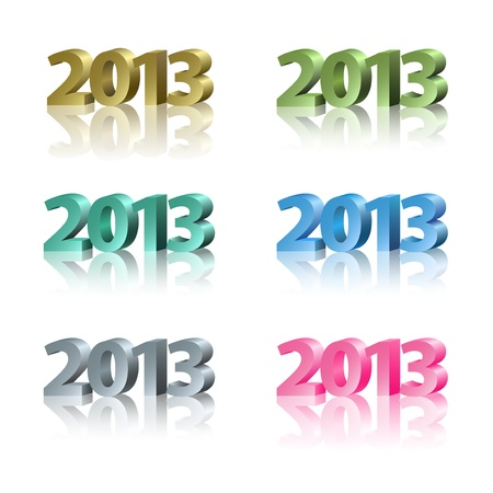 Set of 2013 New Year icon, colorful letters on the white background Vector