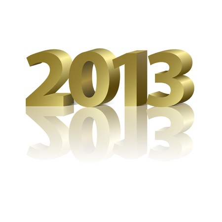 2013 New Year banner, golden letters on the white background Vector