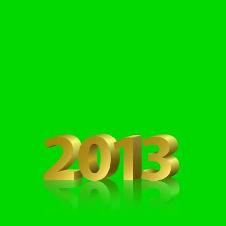 2013 New Year banner, golden letters on the  green screen, removable chroma key  background Vector